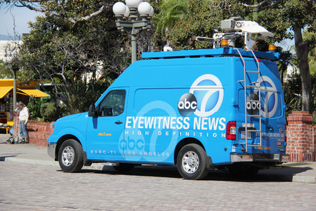 Los Angeles, California, USA - August 14, 2015: Broadcasting vehicle of American Broadcasting Company ABC is preparing to report a news.