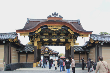 nijo: Kyoto, Japan - April 11, 2015: Nijo Castle, a flatland castle in Kyoto, is one of the seventeen Historic Monuments of Ancient Kyoto designated by UNESCO as a World Heritage Site. Editorial
