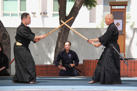 kendo: Los Angeles, California, USA - August 16, 2015: Japaneses demonstrate Kendo, a modern Japanese martial art, during Nisei Week Japanese Festival at Little Tokyo in Downtown Los Angeles.