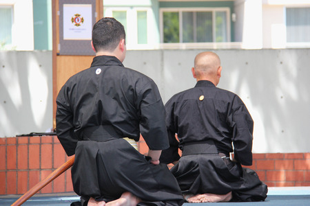 japaneses martial art: Los Angeles, California, USA - August 16, 2015: Japaneses demonstrate Kendo, a modern Japanese martial art, during Nisei Week Japanese Festival at Little Tokyo in Downtown Los Angeles.