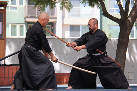 Los Angeles, California, USA - August 16, 2015: Japaneses demonstrate Kendo, a modern Japanese martial art, during Nisei Week Japanese Festival at Little Tokyo in Downtown Los Angeles.