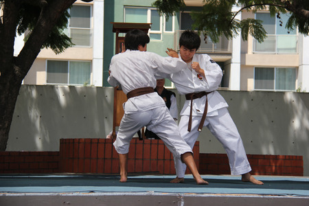 Los Angeles, California, USA - August 16, 2015: Japaneses demonstrate Judo, a modern Japanese martial art, combat and Olympic sport, during Nisei Week Japanese Festival at Little Tokyo in Downtown Los Angeles.