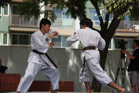 japaneses martial art: Los Angeles, California, USA - August 16, 2015: Japaneses demonstrate Judo, a modern Japanese martial art, combat and Olympic sport, during Nisei Week Japanese Festival at Little Tokyo in Downtown Los Angeles.