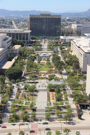 municipal utilities: Los Angeles, California, USA - August 14, 2015: Grand Park is part of the larger Grand Avenue Project located in front of the Los Angeles Department of Water and Power, the largest municipal utility in the United States.