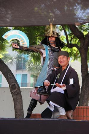ロサンゼルス、カリフォルニア、アメリカ合衆国 - 2015 年 8 月 16 日: 日本人二世週日本祭ロサンゼルスのリトル東京でのステージ上で日本文化ショー 報道画像