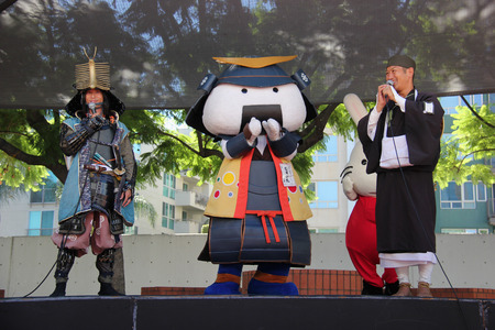 dramatics: Los Angeles, California, USA - August 16, 2015: Japaneses are performing Japanese cultural show on the stage for Nisei Week Japanese Festival at Little Tokyo in Los Angeles.