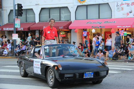 Los Angeles, California, USA - August 16, 2015: Parade of Nisei Week Japanese Festival, the festival for Second Generation Japanese-American, is held at Little Tokyo in Downtown Los Angeles.