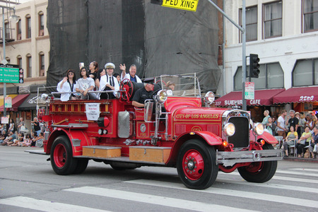 Los Angeles, California, USA - August 16, 2015: The Los Angeles Fire Department, the third largest municipal fire department in the United States, joins Nisei Week Japanese Festival 2015 at Little Tokyo in Downtown Los Angeles.