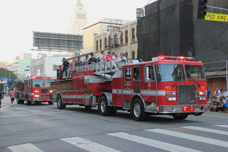 municipal editorial: Los Angeles, California, USA - August 16, 2015: The Los Angeles Fire Department, the third largest municipal fire department in the United States, joins Nisei Week Japanese Festival 2015 at Little Tokyo in Downtown Los Angeles.