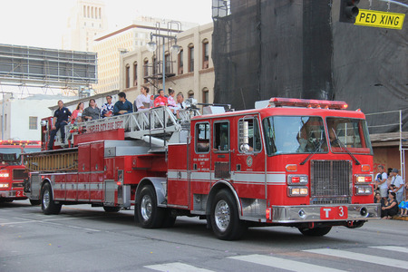 technical department: Los Angeles, California, USA - August 16, 2015: The Los Angeles Fire Department, the third largest municipal fire department in the United States, joins Nisei Week Japanese Festival 2015 at Little Tokyo in Downtown Los Angeles.