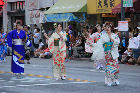 traditional culture: Los Angeles, California, USA - August 16, 2015: Parade of Nisei Week Japanese Festival, the festival for Second Generation Japanese-American, is held at Little Tokyo in Downtown Los Angeles.