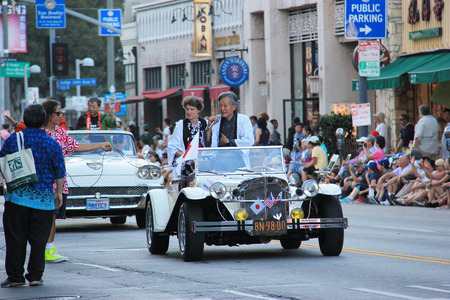 general cultural heritage: Los Angeles, California, USA - August 16, 2015: Parade of Nisei Week Japanese Festival, the festival for Second Generation Japanese-American, is held at Little Tokyo in Downtown Los Angeles.