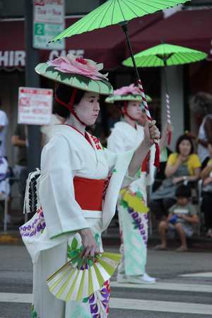 dramatics: Los Angeles, California, USA - August 16, 2015: Parade of Nisei Week Japanese Festival, the festival for Second Generation Japanese-American, is held at Little Tokyo in Downtown Los Angeles.