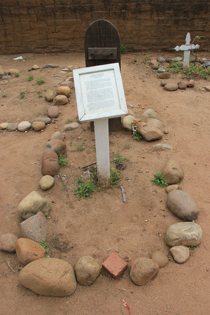suffered: San Diego, California, USA - May 25, 2015: Grave of James W. Robinson or Yankee Jim who suffered the extreme penalty for stealing the only rowboat in San Diego Bay at El Campo Santo Cemetery, old cemetery in Old Town San Diego.