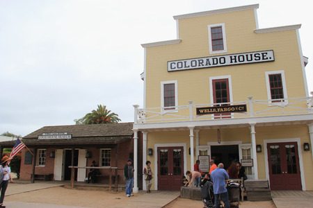 San Diego, California, USA - May 25, 2015: Old Town San Diego State Historic Park, a state protected historical park in San Diego, commemorates the early days of the town of San Diego and includes many historic buildings from 1820 to 1870.