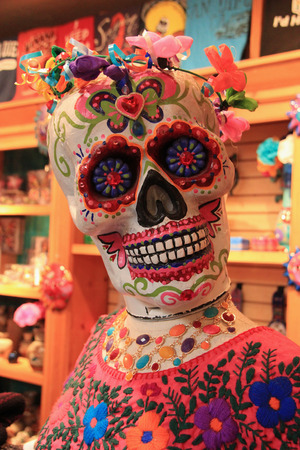fiesta popular: San Diego, California, USA - May 25, 2015: Merchandise sold at Old Town San Diego are decorated in ghost theme as it is famous for haunted house and ghost stories. Editorial