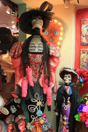San Diego, California, USA - May 25, 2015: Merchandise sold at Old Town San Diego are decorated in ghost theme as it is famous for haunted house and ghost stories. Editorial