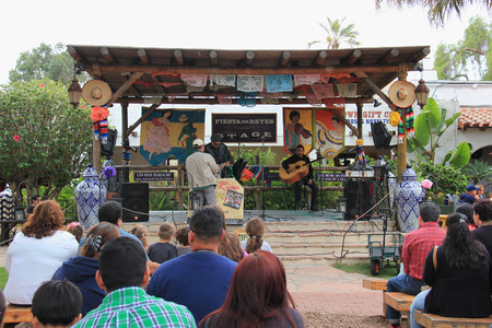 state owned: San Diego, California, USA - May 25, 2015: Fiesta de Reyes, the commercial area located at Old Town San Diego State Historic Park, consists of 19 locally owned specialty shops, 3 restaurants and a 10-room boutique hotel. Editorial