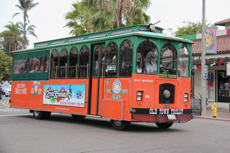 san diego: San Diego, California, USA - May 25, 2015: Old Town Trolley Tour of San Diego offers tourists sightseeing tours in Old Town San Diego Area, the oldest settled area in San Diego.