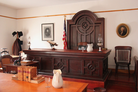 sufferer: San Diego, California, USA - May 25, 2015: San Diegos second county courthouse at the Whaley House, one of the most haunted houses in America.