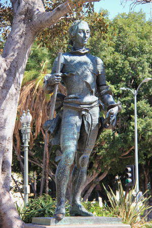 controversy: Los Angeles, California, USA - August 14, 2015: The statue of King Carlos III, the 18 century Spanish monarch who has touched off controversy in Los Angeles, is located at El Pueblo de Los Angeles State Historic Park.