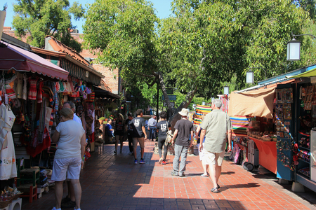 Los Angeles, California, USA - August 14, 2015: Olvera Street is tree-shaded pedestrian marketplace with craft shops and restaurants in Downtown Los Angeles, California. Editorial
