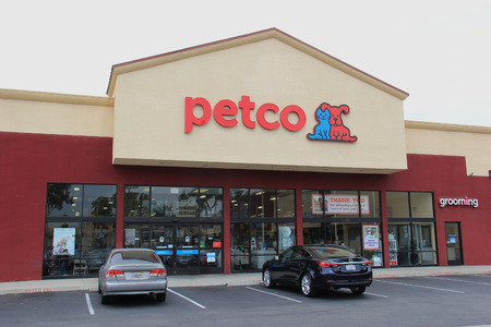 retailer: Downey, California, USA - June 9, 2015: Petco Animal Supplies is a privately held retailer in United States that sells pets, pet products and services. Editorial