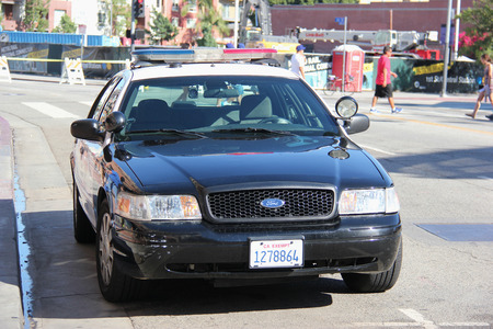 police equipment: Los Angeles, California, USA - August 16, 2015: Los Angeles Police Department is the third largest municipal police department after the New York City Police Department and the Chicago Police Department.