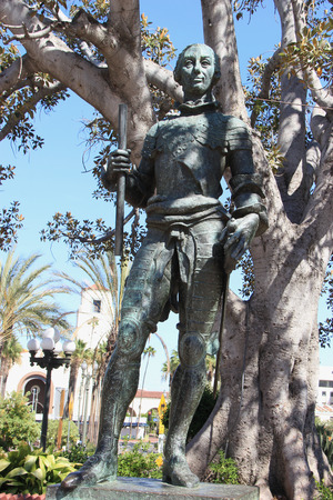 carlos: Los Angeles, California, USA - August 14, 2015: The statue of King Carlos III, the 18 century Spanish monarch who has touched off controversy in Los Angeles, is located at El Pueblo de Los Angeles State Historic Park.