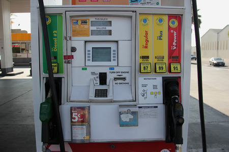 unleaded: Los Angeles, California - 10 November 2014: Royal Dutch Shell Plc or Shell is an Anglo-Dutch multinational oil and gas company. It is the fourth largest company in the world as of 2014, in term of revenue.