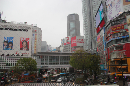cuisine entertainment: Tokyo, Japan - April 13, 2015: Shibuya is one of Tokyos most colorful and busy districts with shopping, dining and nightclubs.