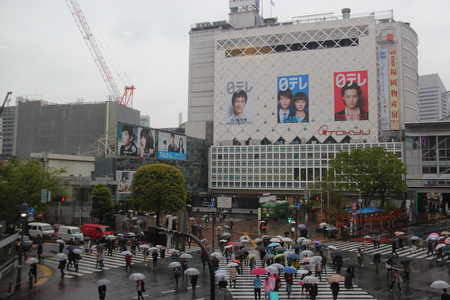 cuisine entertainment: Tokyo, Japan - April 13, 2015: Pedestrians are crossing the Shibuya crossing, the worlds busiest intersection, in Tokyo, Japan. Editorial