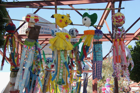 deities: Los Angeles, California, USA - August 16, 2015: Tanabata or Star Festival, held at Little Tokyo, Los Angeles, is a Japanese Festival celebrating the meeting of the deities of Orihime and Hikoboshi.