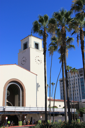 Los Angeles, California, USA - August 14, 2015: Los Angeles Union Station, a major transportation hub for Southern California, is the largest railroad passenger terminal in the Western United States. It is known as the Last of the Great Railway Stations