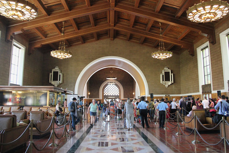 railway transportation: Los Angeles, California, USA - August 14, 2015: Los Angeles Union Station, a major transportation hub for Southern California, is the largest railroad passenger terminal in the Western United States. It is known as the Last of the Great Railway Stations