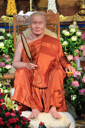 Kanchanaburi, Thailand - July 22, 2013: Luangpho Uttama, Wang Wiwekaram Temple founder, was known and revered by civilians of Burmese and Thai for his profound and intensive Buddhist teachings and industrious meditation.