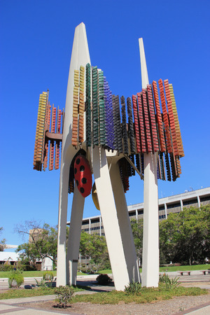 Los Angeles, California, USA - August 14, 2015: Triforium is a public sculpture, designed by Joseph Young to use motion sensors and a computer controlled system to detect and translate the motions of passersby into patterns of light and sound, at Fletcher