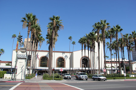 western united states: Los Angeles, California, USA - August 14, 2015: Los Angeles Union Station, a major transportation hub for Southern California, is the largest railroad passenger terminal in the Western United States. It is known as the Last of the Great Railway Stations