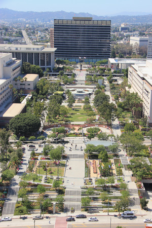 Los Angeles, California, USA - August 14, 2015: Grand Park is part of the larger Grand Avenue Project located in front of the Los Angeles Department of Water and Power, the largest municipal utility in the United States.