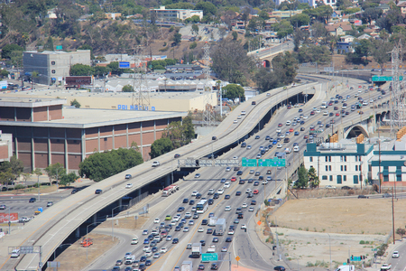 express lane: Los Angeles, California, USA - August 14, 2015: U.S. Route 101, U.S. highway on the West Coast of the U.S., runs through downtown LA near the East Los Angeles Interchange, the worlds busiest freeway interchange. Editorial