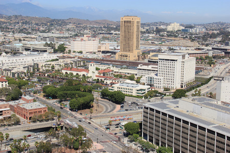 Los Angeles, California, USA - August 14, 2015: Scenery of Union Station, the largest railroad passenger terminal in the Western United States, and Los Angeles County Metropolitan Transportation Authority, the public transportation operating agency for th