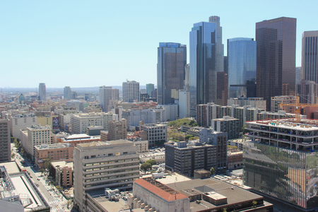 Los Angeles, California, USA - August 14, 2015: Downtown Los Angeles is composed of different areas from a fashion district to a skid row, and it is the hub of the citys Metro rapid transit system. Editorial