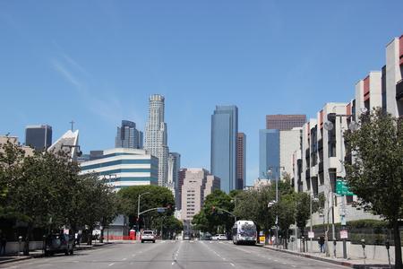 Los Angeles, California, USA - August 16, 2015: Downtown Los Angeles is composed of different areas from a fashion district to a skid row, and it is the hub of the citys Metro rapid transit system.