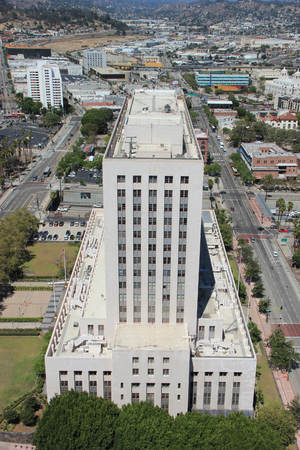 historic place: Los Angeles, California, USA - August 14, 2015: Scenery of the United States Court House, historic place serving as both a post office and a courthouse, and Downtown Los Angeles