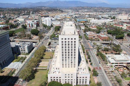 Los Angeles, California, USA - August 14, 2015: Scenery of the United States Court House, historic place serving as both a post office and a courthouse, and Downtown Los Angeles