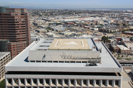helipad: Helipad on the top of a Building in Downtown Los Angeles Editorial