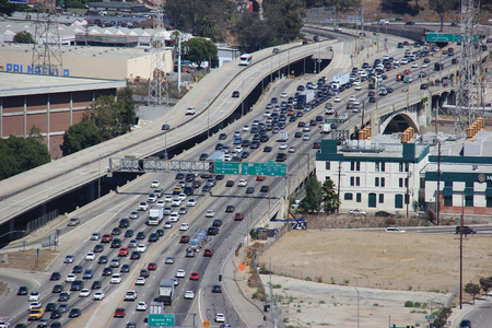 Los Angeles, California, USA - August 14, 2015: U.S. Route 101, U.S. highway on the West Coast of the U.S., runs through downtown LA near the East Los Angeles Interchange, the worlds busiest freeway interchange. Editorial