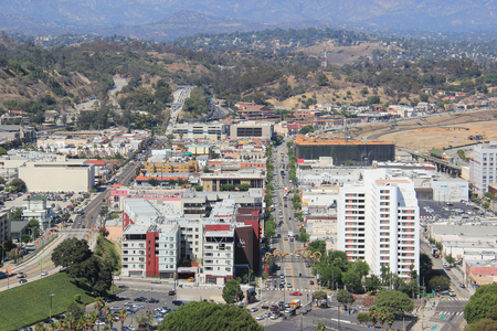Los Angeles, California, USA - August 14, 2015: Skyview of Chinatown Los Angeles, a commercial center for Chinese and Other Asian businesses in Central Los Angeles