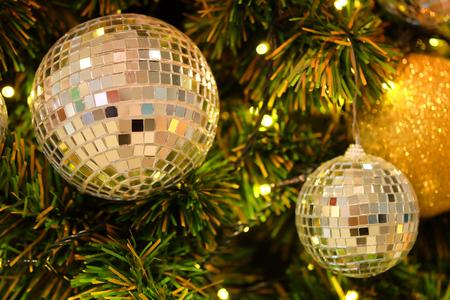 Mirror balls as Christmas ornament on tree