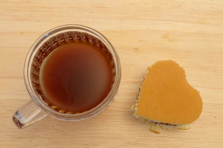 Hearty shape Dorayaki on white background, popular Japanese pancake with sweet red bean, for Valentines or special romantic moment, served with coffee or tea in coffee time, with space for writing